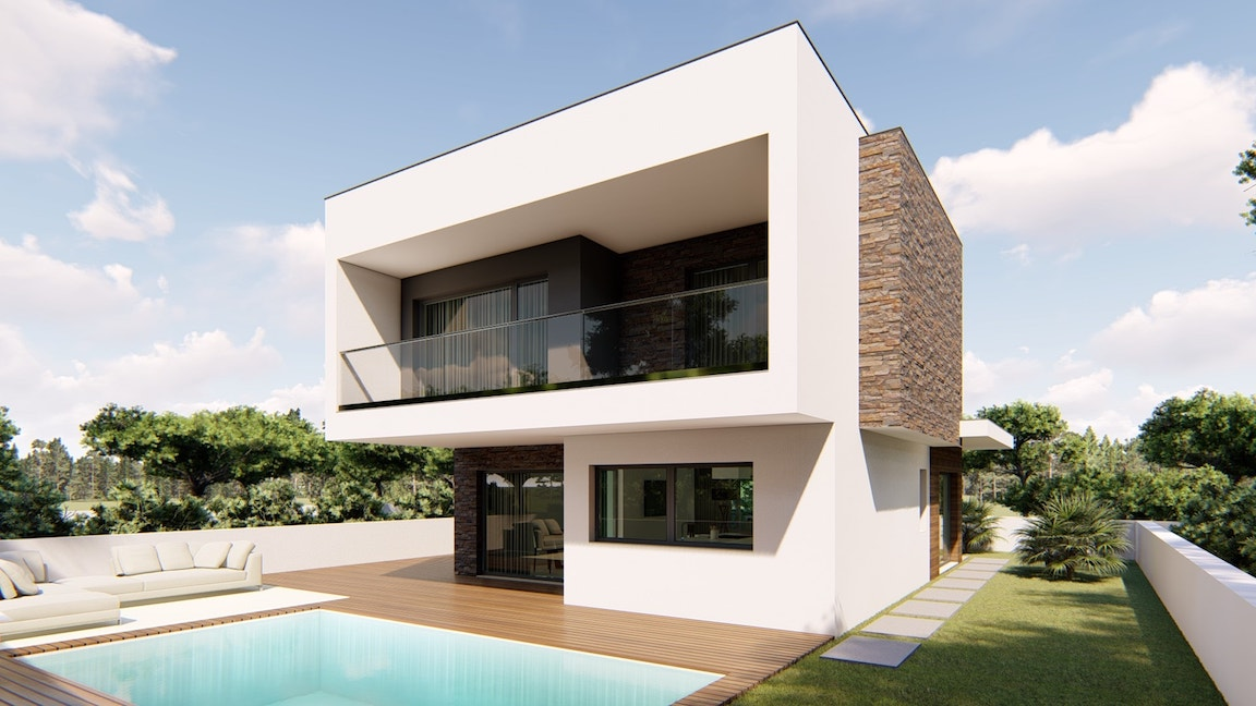 Maisons neuves en construction à Aroeira entre Lisbonne et ...